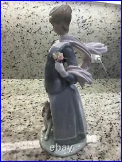 Lladro Lady Walking Her Dog on The Leash Wearing Shawl and Hat Holding Flowers