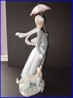 Lladro Lady with Shawl #4914 Beautiful 17.75 Tall Walking Dog & Parasol