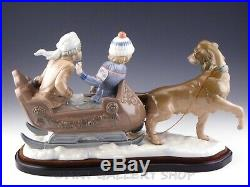 Lladro Large Figurine SLEIGH RIDE DOG PULLING SLED KIDS BOYS #5037 with BASE Mint