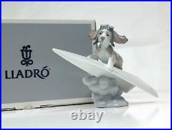 Lladro Lets Fly Away Collectible Figurine #6665 Dog Flying Paper Plane