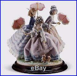Lladro Limited Edition Women Lady Dog Umbrella 1492 Three Sisters 01001492 New