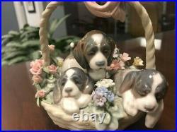 Lladro Litter of Love 1441 Figurine Puppies in Basket. Excellent condition