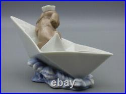 Lladro Little Stowaway 6642 Porcelain Figurine Dog Sailing on Paper Boat Spain