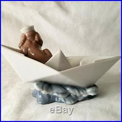 Lladro Little Stowaway Sailor Dog in Paper Boat Porcelaine Figurine #6642