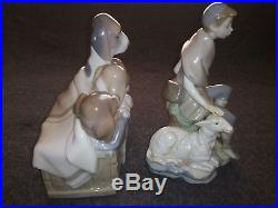 Lladro Lot Of 5 Pcs. Dogs in basket #1121, Rare Little Shepherd with goat #4817