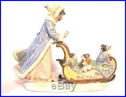 Lladro Lovely Figure Great Condition Girl with puppy dogs in a sled (#878)