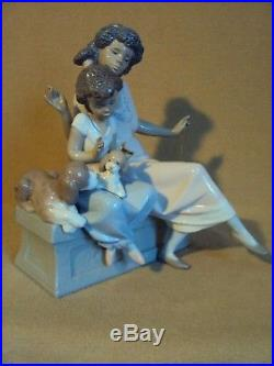 Lladro MEET MY FRIEND African Black Legacy Mom Girl Dogs EXTREMELY RARE MINT