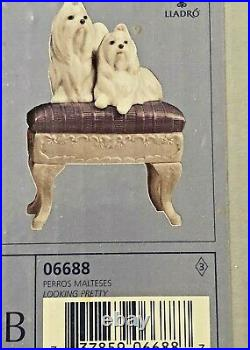 Lladro Maltese Figurine Dogs On Bench