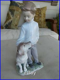 Lladro Mint 6902 My Loyal Friend Boy with Dog Labrador Retriever