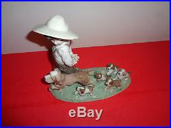Lladro My Little Explorers Boy With Dog & Her Puppies Figurine 10 by 10 by 5