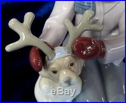 Lladro My Little Reindeer Brand New In Box #9130 Christmas Girl Dog Winter Save$