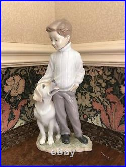 Lladro My Loyal Friend #6902 Boy With Pet Dog Mint Condition Very Rare