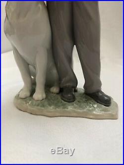 Lladro My Loyal Friend 6902 Boy with Dog Glazed