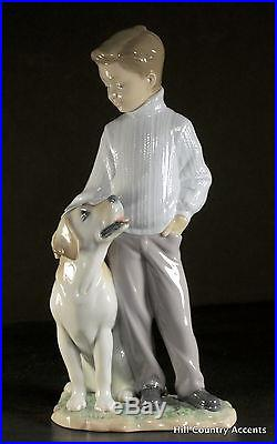 Lladro My Loyal Friend #6902 Yellow Lab Boy With His Dog Mint
