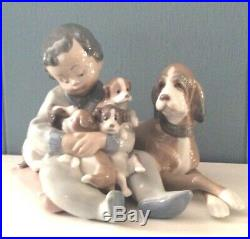 Lladro NEW PLAYMATES #01015456 Boy and Dog With Puppies Retired 1991