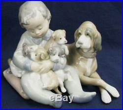 Lladro NEW PLAYMATES Boy with Dog & Puppies model 5456