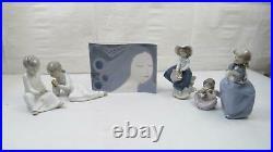 Lladro Nao LOT 6 Pieces Girl Figurine Holding Dog Flower Basket Boy Candlestick