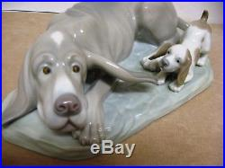 Lladro Nao figurine DOG & PLAYFUL PUPPY 12 X 6.5 VERY RARE 1960