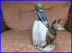 Lladro No. 1533 Not So Fast With German Shepherd Dog. Lovley Condition