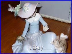 Lladro Not To Close #5781 Lady Sitting with Dog Feeding Birds Rare