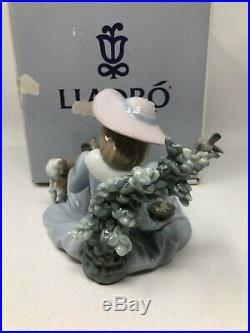 Lladro Not Too Close Girl Dog Birds Figurine 5781 Mint with Box