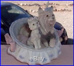 Lladro OUR COZY HOME #06469 Yorkshire Yorkie Dogs Mint Porcelain Figurine