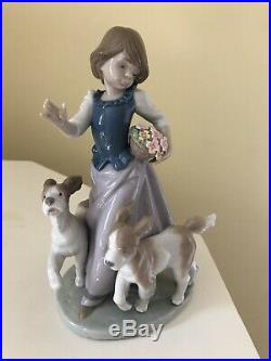 Lladró OUT FOR A ROMP FIGURINE #5761 Girl With Dogs No Box