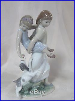 Lladro Oh Happy Days Brand New In Box #8353 Family Sisters And Dog Save$$ F/sh