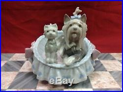 Lladro Our Cozy Home 6469 Yorkshire Terrier Dog Puppy in Bed Figurine Spain