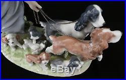 Lladro PUPPY PARADE Green-Eyed Girl Walks 7 Dogs. By Antonio Ramos 9.5 T. 2001