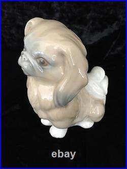 Lladro Pekingese Porcelain Dog Figurine 6 1/8 Tall