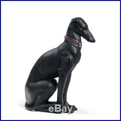 Lladro Pensive Greyhound Dog Figurine. Black 01008606