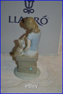 Lladro Picture Perfect Girl with Parasol and Dog Figurine with Box #7612