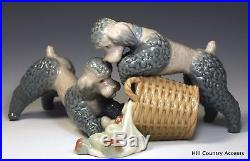 Lladro Playful Dogs #1367 Poodles With Basket Of Apples $1,255 Mint