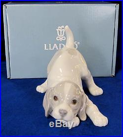 Lladro Playful Puppy Dog Brand New In Box #9135 Cute Grey & White Free Shipping