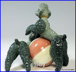 Lladro Playing Poodles #1258 Two Dogs Playing With Ball $825 Value Mint
