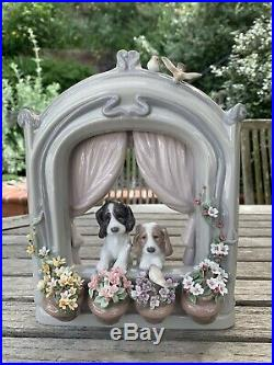 Lladro Please Come Home 6502 Dogs, Spaniels, Flowers, Birds