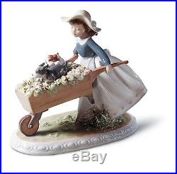 Lladro Porcelain 1005460 Girl Dogs Flowers Summer A Barrow Of Fun New In Box