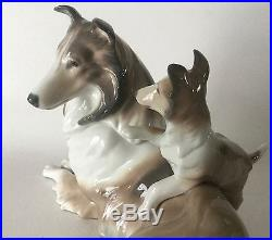 Lladro Porcelain 11 COLLIE SHELTIE Dog with Pup Figurine #6459 Retired Spain ExC