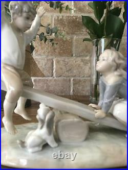 Lladro Porcelain 4867 Seesaw Friends Boy and Girl on See Saw with Dog