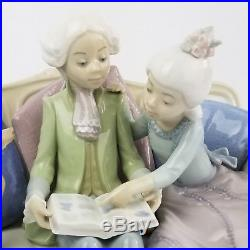 Lladro Porcelain 5229 Story Time Boy and Girl Reading on Couch with Dog with Box