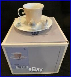 Lladro Porcelain DOG & FROG CUP w SAUCER Mint in Box 6042 Signed by Lladro