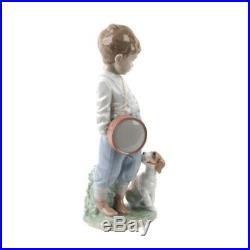 Lladro Porcelain Figurine 6846 Friendly Duet Boy With Dog & Drum New Mint In box
