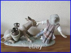 Lladro Porcelain Figurine Group Stubborn Donkey 5178 Boy, Donkey and Dog Retired