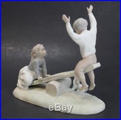Lladro Porcelain Figurine Seesaw Girl & Boy with Dog #4867
