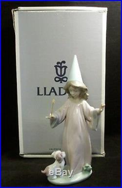 Lladro Porcelain Figurine Under My Spell #6170 WithBox Wizard Girl Puppy Dog