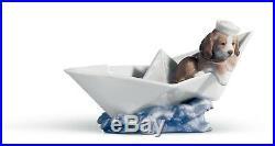 Lladro Porcelain Figurine of Dog on Paper Boat Little Stowaway