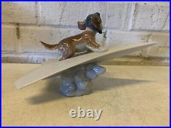Lladro Porcelain Lets Fly Away Figurine of Dog on Paper Airplane #6665