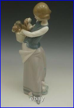 Lladro Porcelain Little Dogs On Hip Girl With Puppies In Basket #1311 Figurine