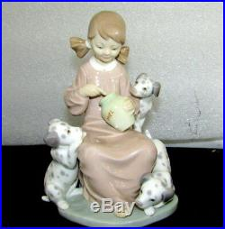 Lladro Porcelain Spain Honey Lickers 1248 Miel Girl Dogs Dalamatian Retired